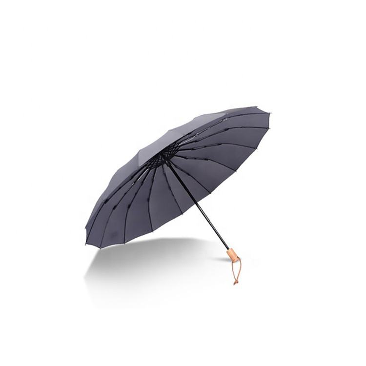 Logo Manual Wooden Handle Windproof Three Folding Umbrella