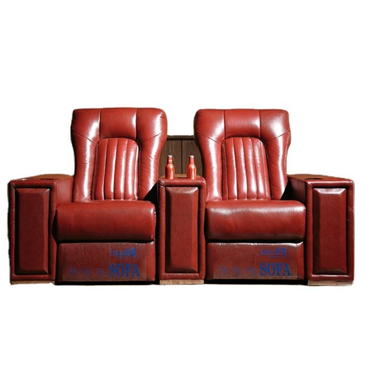 Premium high end genuine leather electric recliner home theater sofa with cool cup holder and led light