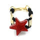 Rapid Custom Fashion Bracelet Creative Red Star Resin Black Rope Joined Gold Color Alloy Tube Cuff Bracelet For Women