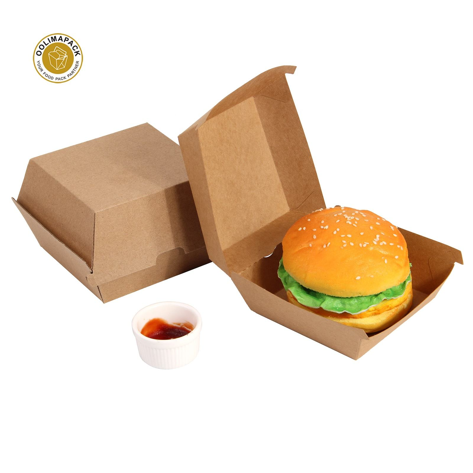Eco-friendly reclaimed material mini fast burger packaging box