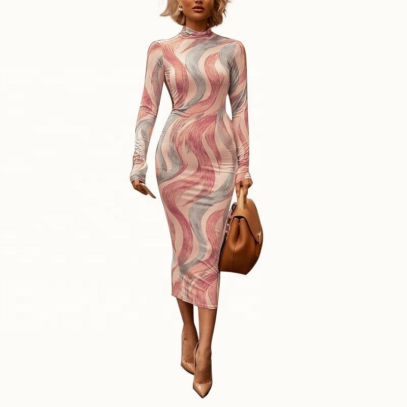 JY031 High Quality Long Sleeve maxi dress Winter bodycon dress Sexy Die Tie Print Dress for Woman