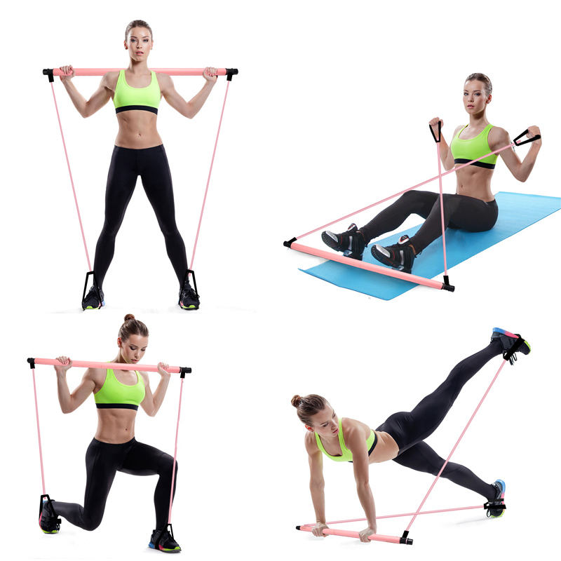 Fitness New Yoga Exercise 3 Section Piece Adjustable Pilates Stick Bar