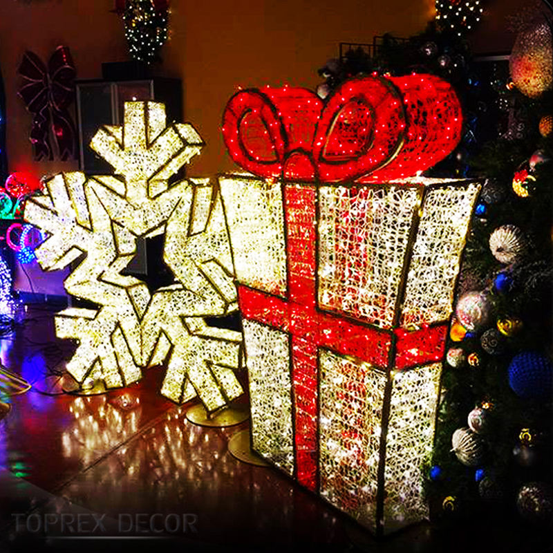 Large outdoor light up decorative christmas gift box