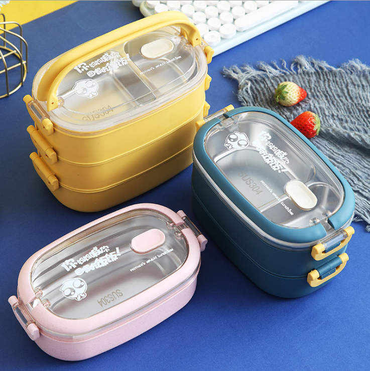 Ecofriendly Leakproof Stackable Stainless Steel Insulated Bento Lunch Box 1/2/3 Layer Rectangular Food Container