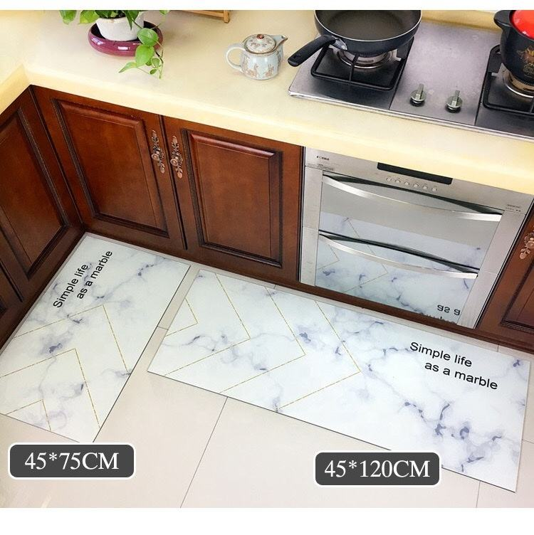 custom Kitchen mat PVC Greaseproof floormat Printed non-slip mat