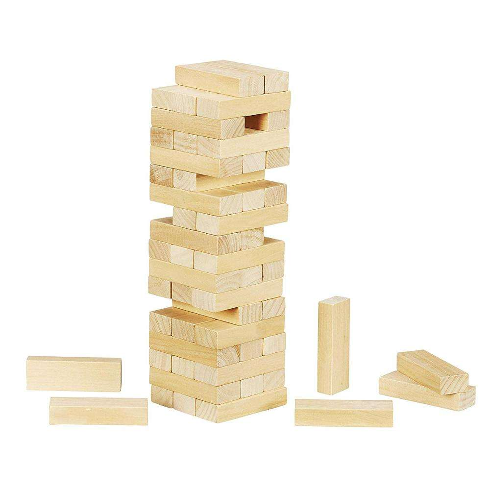 High Quality Custom Logo Wooden Classic Mini Tower Game Toy Wood Craft for Kids 54 Hardwood Blocks