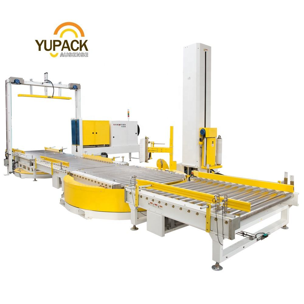 Full Automatic Pressure Type Strapping Wrapping Machine Line with Top Plate