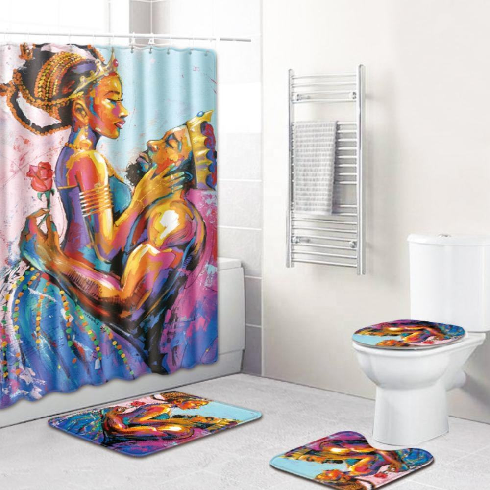 Sexy Queen and King African American couple shower curtain bathroom sets