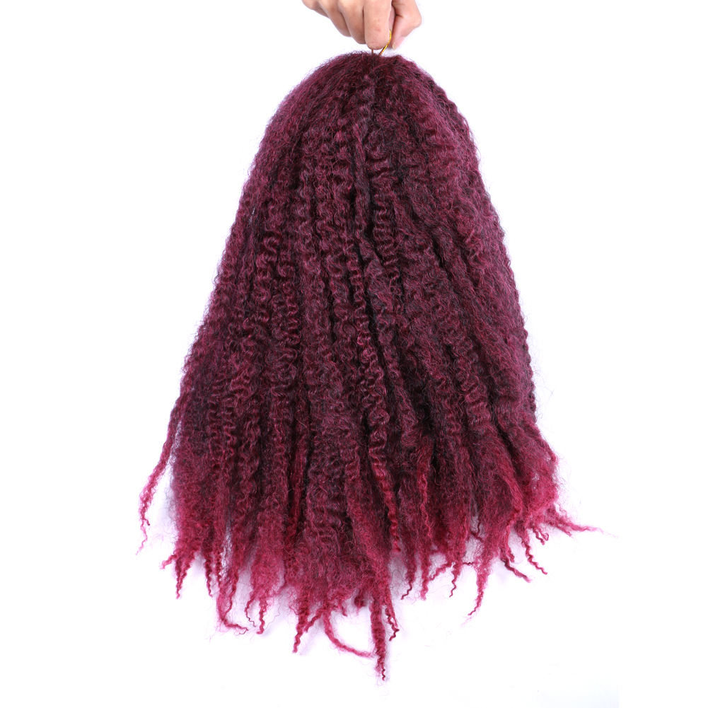 Burgundy synthetic marley braid afro curl marley braid hair synthetic afro twist marley hair crochet braids