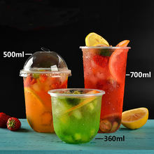 Disposable Plastic U Shaped Cup Fruit Juice bubble tea plastic cup Packaging Cups