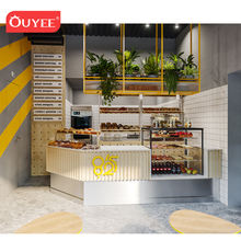 Mall Bubble Tea Shop Interior Design, Plywood Milk Tea Kiosk Design With Coffee Shop Counter