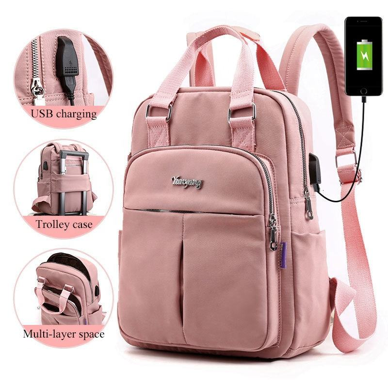 Waterproof Nylon Soft Handle Solid Multi-pocket Travel Zipper usb charging laptop women canvas backpack