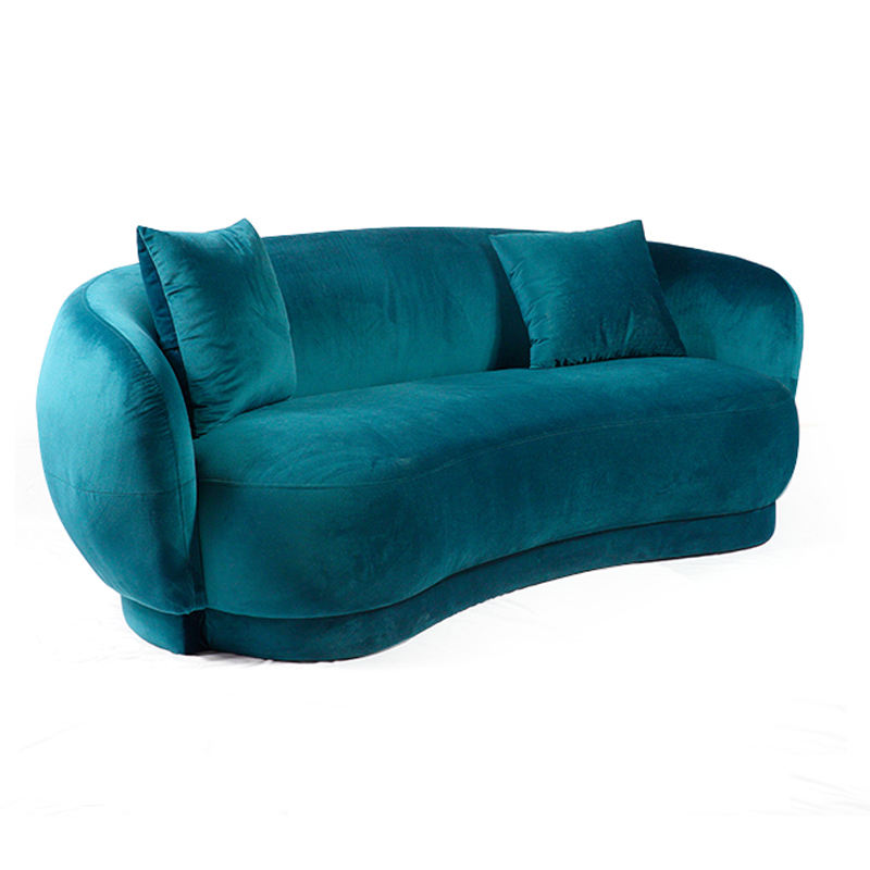 furniture living room two seater upholstered blue velvet sofa