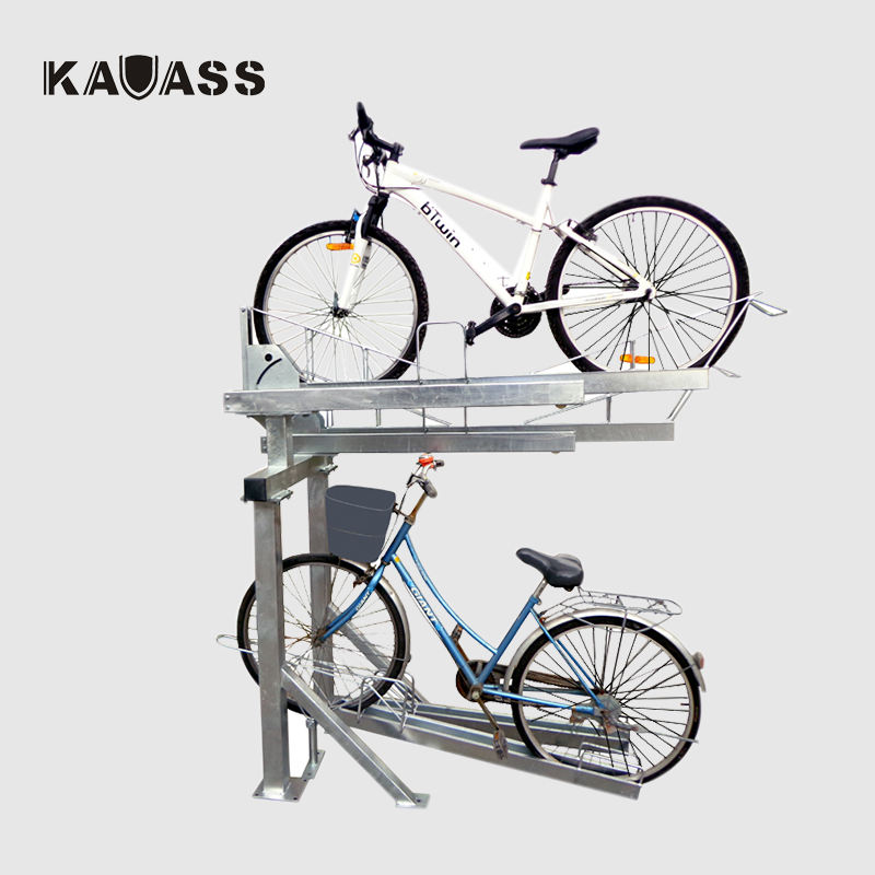 Outdoor Gas Assisted Hot Dip Galvanized double tier Decker Bike Parking Rack