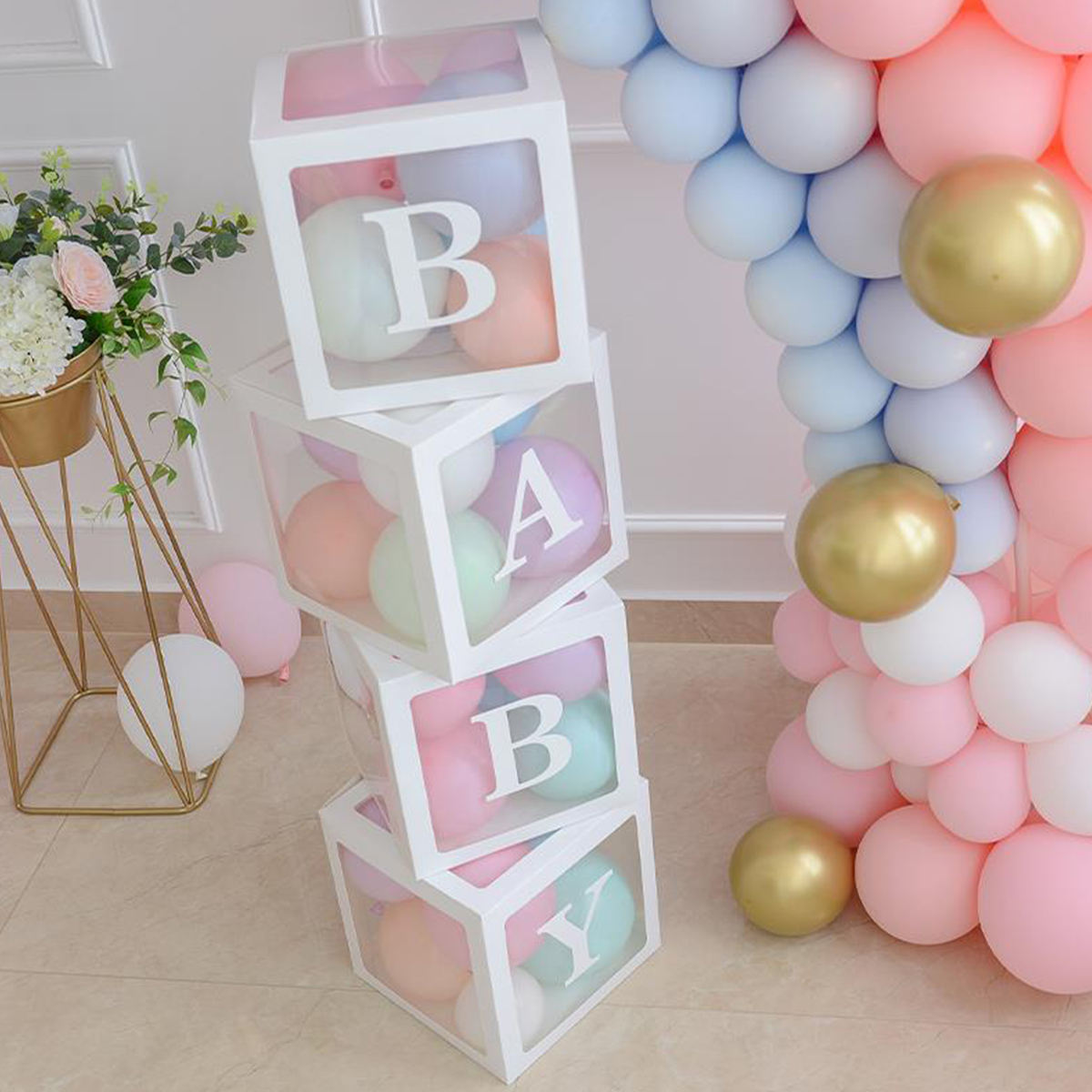 4PCS White Baby Shower Box Transparent Balloon set Gift gifts letter Boy Box For Baby Shower Decorations Birthday Party Supplies