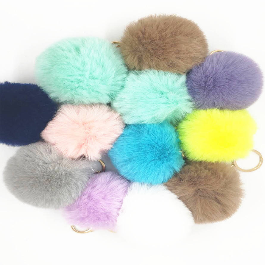 Wholesale Pom Pom For Beanie Hats, Snap On fluffy fox fur Pompom, Detachable Faux raccoon Fur Ball keychain