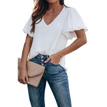 Summer Fashion Puff Sleeve V Neck Plain Blouse Women