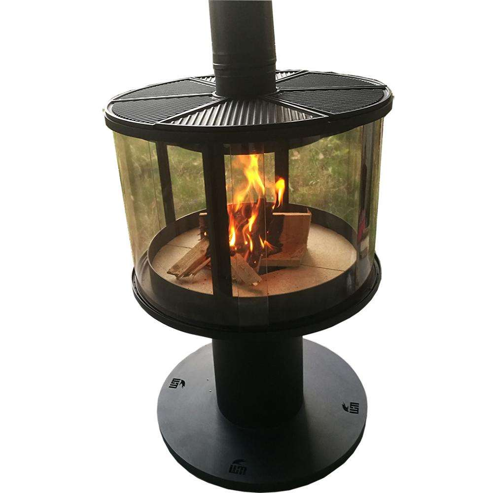 Factory supply hange wood burning fireplace wood burning stove with round glass