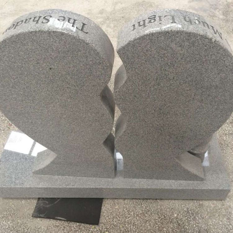 Heart Shape Natural Grey Granite Headstone