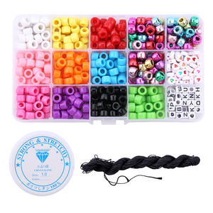 520pcs/box 4mm Multicolor Kids pony hair beads glass set bulk Acrylic Alphabet Letter Beads For Jewelry Making DIY