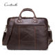 contact's dropship wholesale luxury fashion multi-function waterproof business briefcase genuine leather brown 15.6 laptop bag