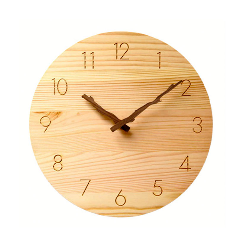 OEM European Custom Modern home decoration natural Wooden Wall Clocks for Living Room