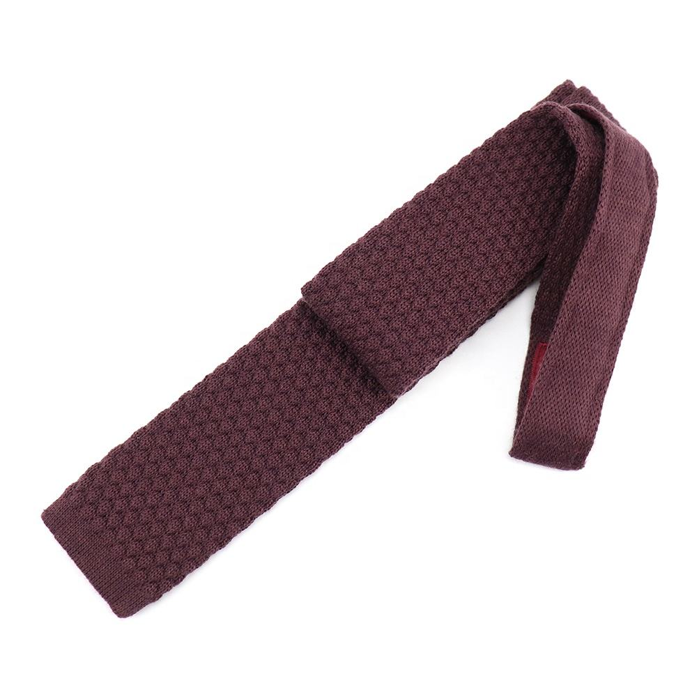 XINLI Neckwear Factory Dropshipping Flat Necktie Burgundy Pineapple Texture Plain Skinny Men's Slim Ties Top Level Knit Tie Silk