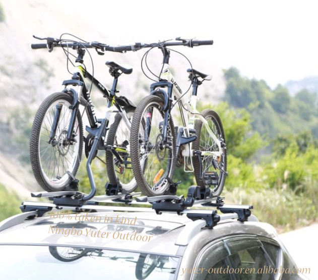 Roof bike rack in aluminum