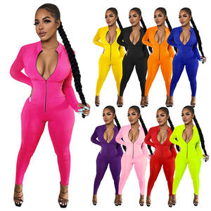 Fashion Long Sleeve Solid Color Stretchy Bodycon Jogging Rompers Plus Size Autumn Women One Piece Jumpsuit