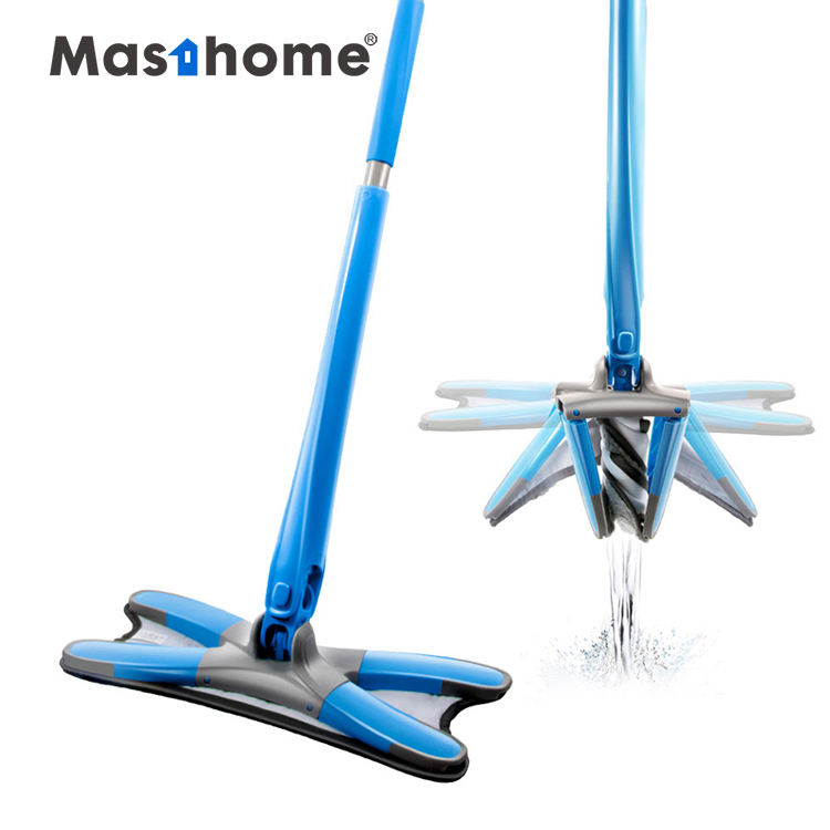 Masthome Manual Hand Wash Free Flat floor mops for house cleaning X type dust mop with Microfiber pads kitchen cleaning tools