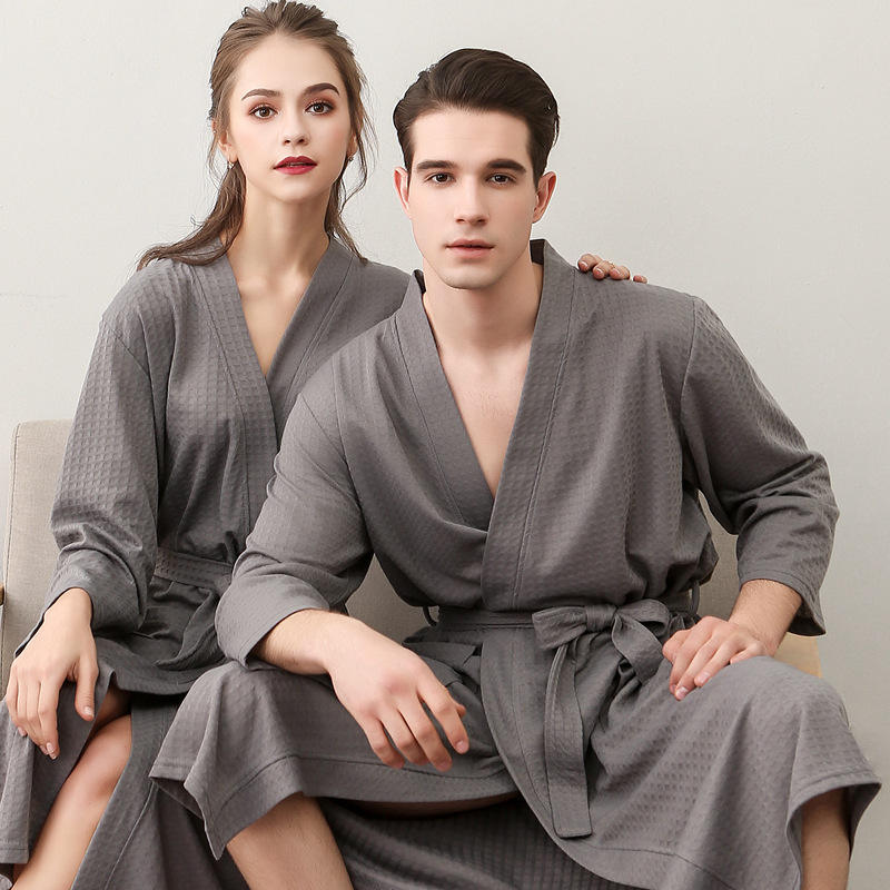 gift your own beautiful gown hotel lovers bathrobe couple waffle weave bath robe