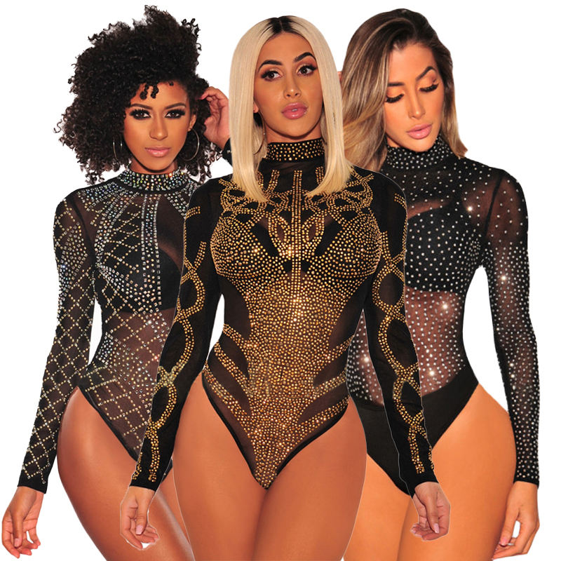 Hot Sale Ladies Turtle Beck Rhinestone Studded Mesh Long Sleeves Teddy Lingerie Women Bodysuit Body Shaper