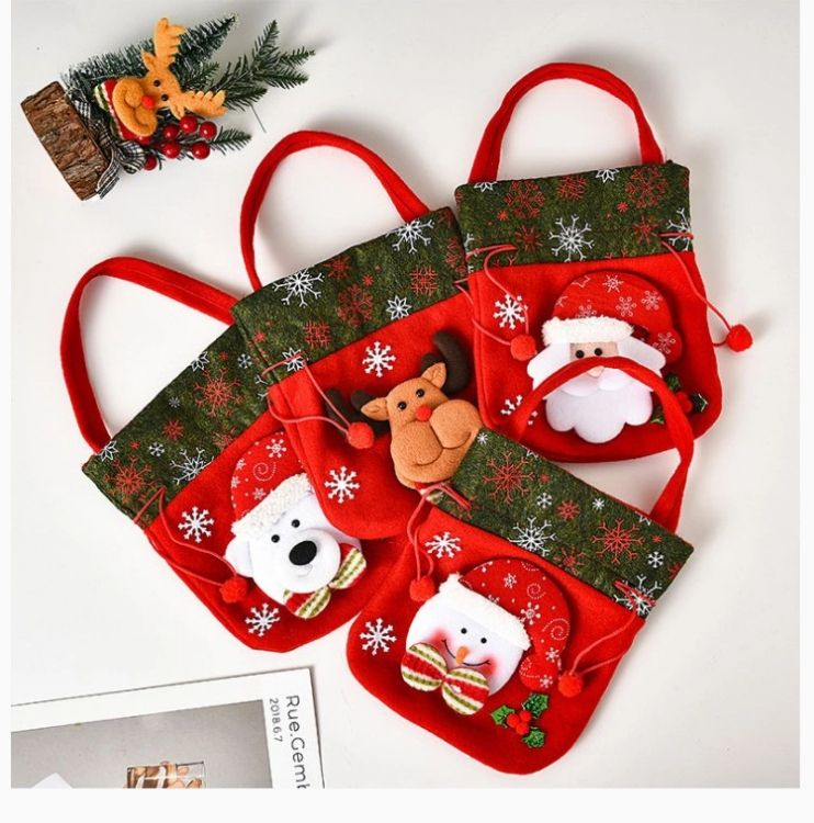 Sinyoo Christmas Decorations Christmas Ornaments Flannel Colorful Christmas Gift Bag Candy Bag In The Holiday Supplies