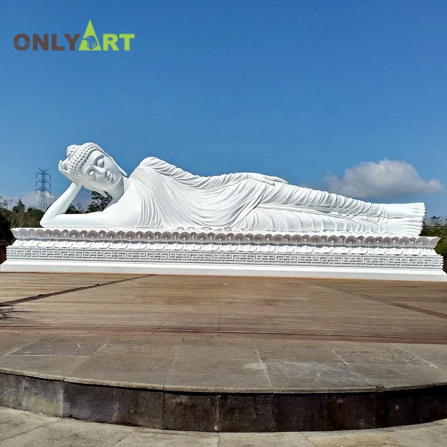 Artificial large white marble lying sleeping reclining buddha statue for outdoor decoration
