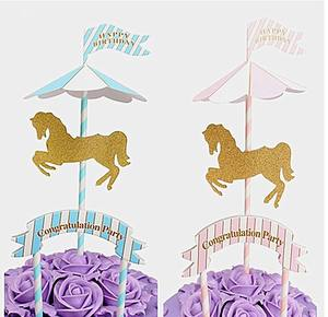 Carousel theme card insertion party supplies children birthday full moon first birthday cake topper decoration flag