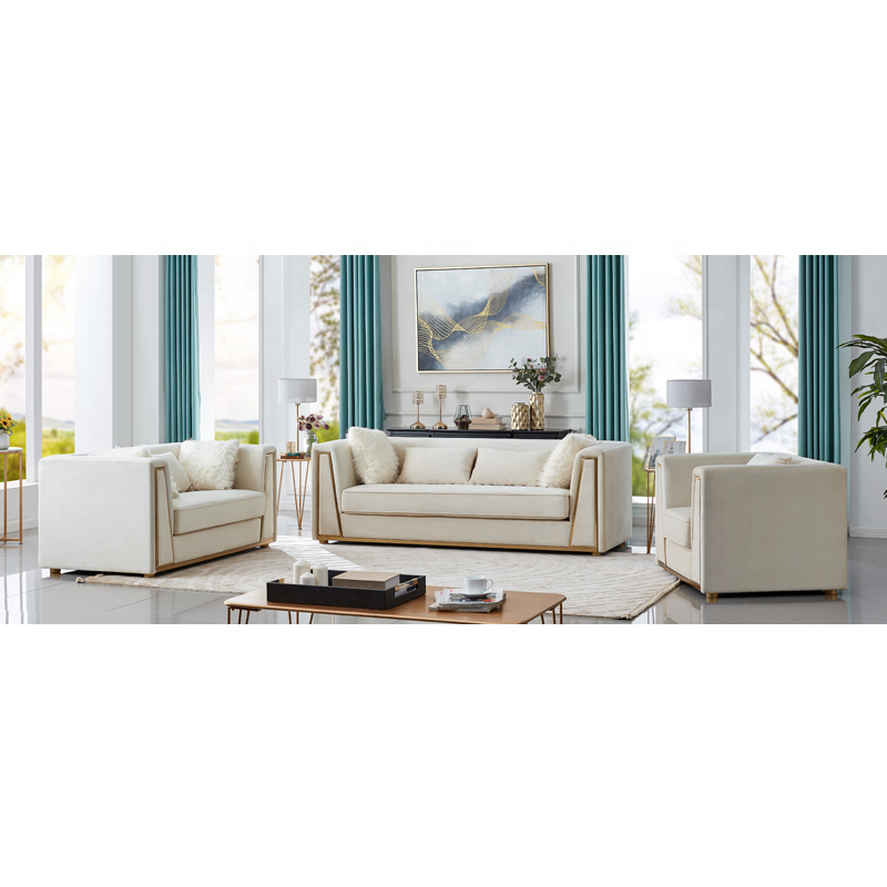 Light Luxury Modern Upholstered Sectional Couch Stainless Steel Living Room Leisure Sofa Sets