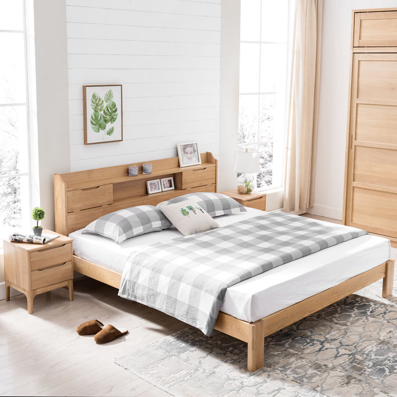 Customizable nordic morden design full size low price house furniture bed bedroom solid wood for bedroom