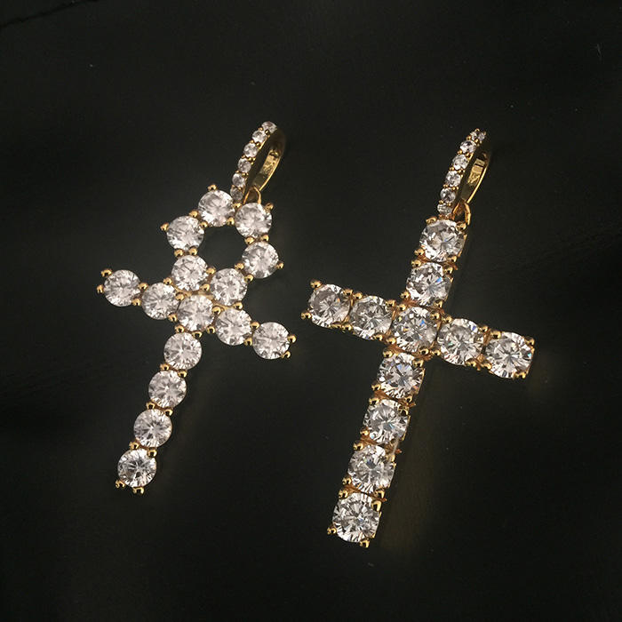 Diy Charm Iced Out Brass Cross Pendants, Gold Bling Ankh Pendant Necklace