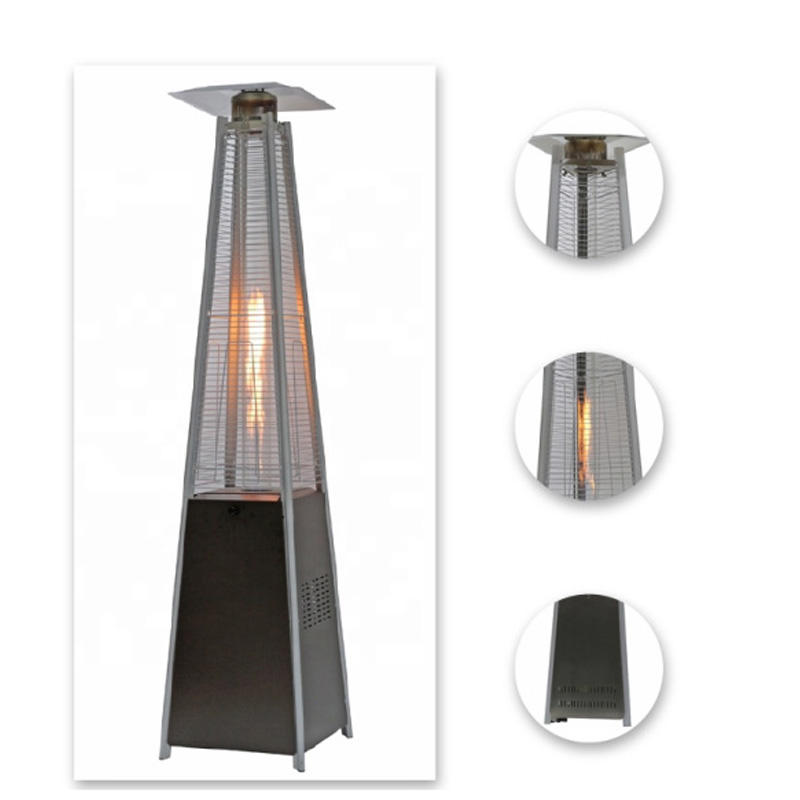 Commercil outdoor patio heater pyramid natural gas standing patio heater 3000w glass tube patio heater