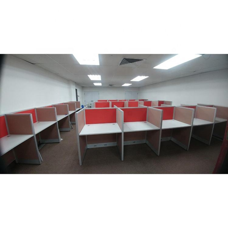 Aluminum Frame Partition Wooden Office Cubicle Workstation Furniture for Call Center