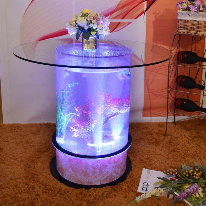 led lighted furniture round glass top dining table aquarium based bar table