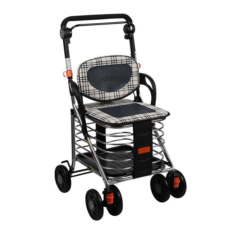 Disabled people collapsible aluminum shopping trolley cart walker rollator for the elder