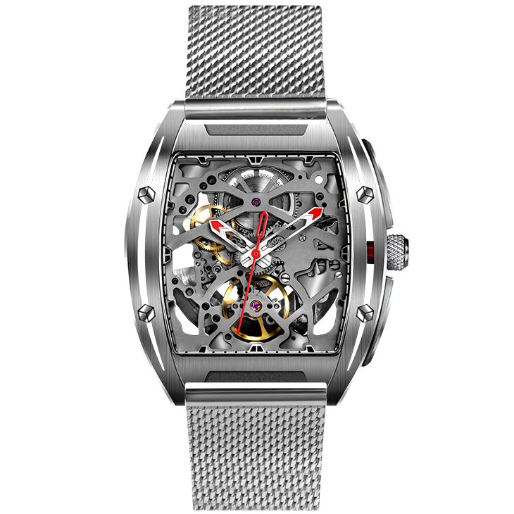 Luxe Heren Rvs Mesh Band Hele Skelet Tonneau Mechanische Horloge