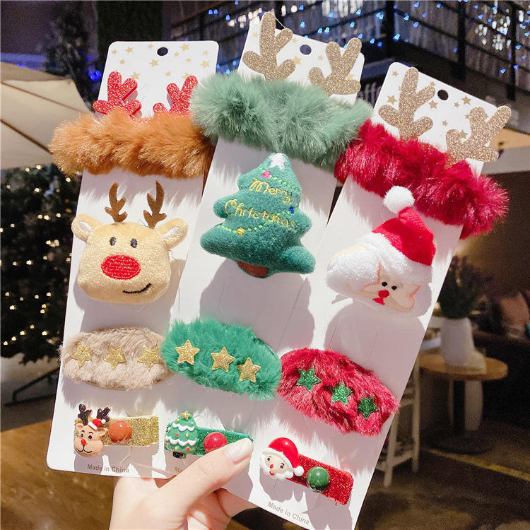 Christmas kids hair clips set with plush rubber band hair clips for children's hair accessories