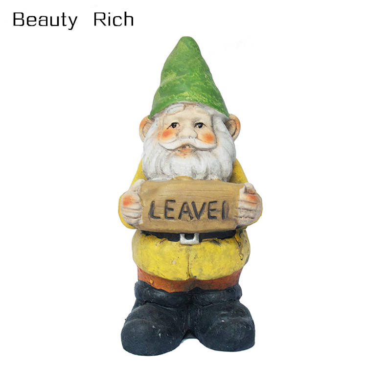 Polyresin/Resin 6 inch Yellow Garden Gnome with Leave Sign