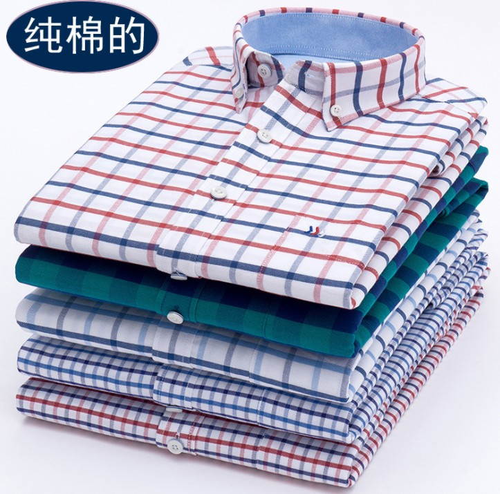 High quality 100%cotton oxford plaid check long sleeve casual shirts