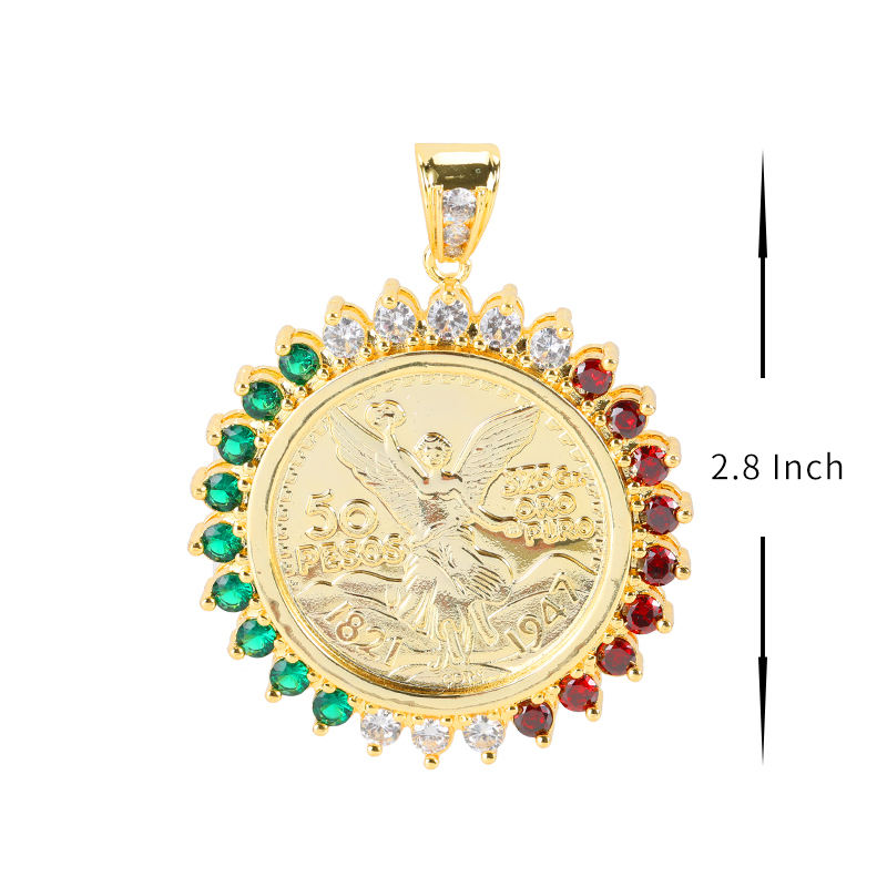 Tricolor fashion centernario pendants gold plated commemorative coin Mexico 50 pesos neutral pendants gift