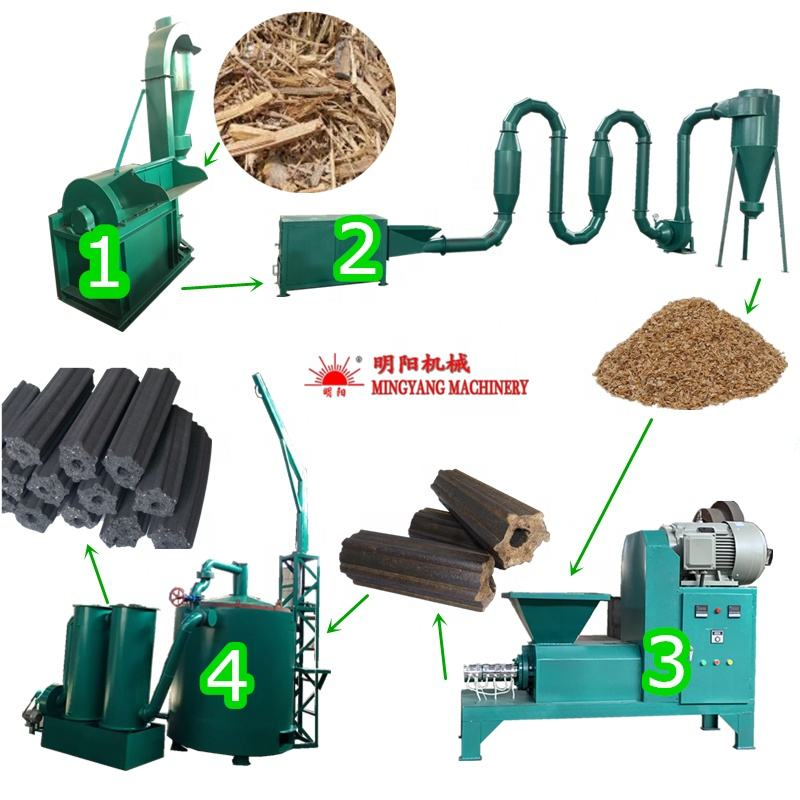 Wood Sawdust Powder Rice Husk Coconut Shell Briquetting Press For Charcoal Dust Charcoal Briquette Machine