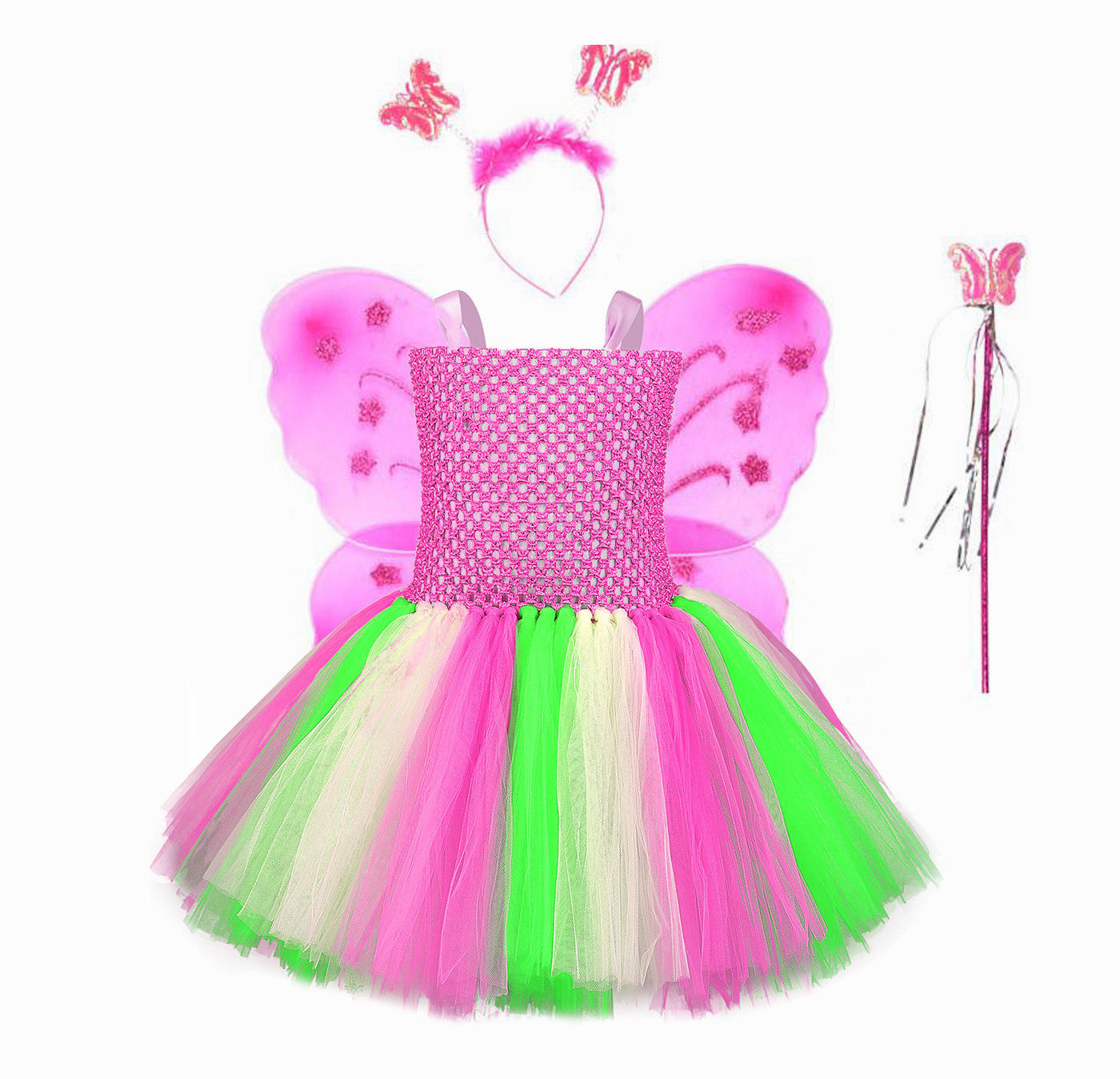 Supplier Party Pink Rainbow Tutu Dress Sleeveless Fairy Dress With Wing And Wand Cosplay Summer Kids Costume