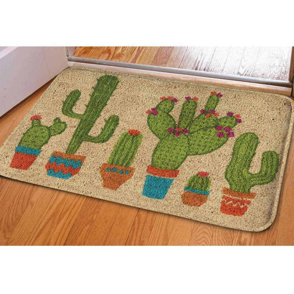Wholesale Customized Logo Green Cactus Print Flannel Doormat Kitchen/Bathroom Living Room Mats Indoor Outdoor